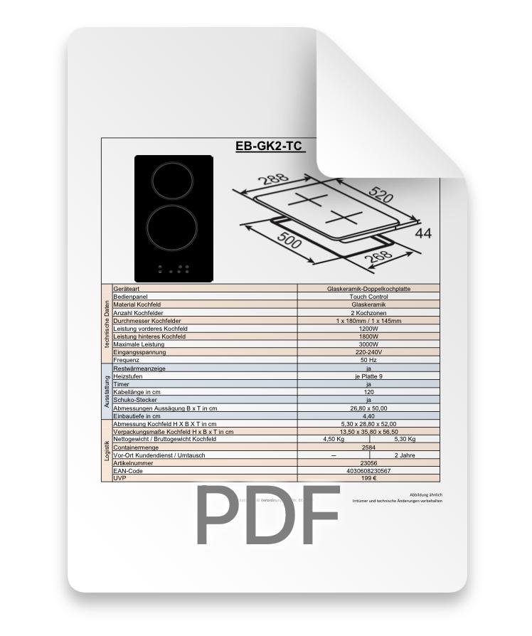 Datenblatt Kochfeld