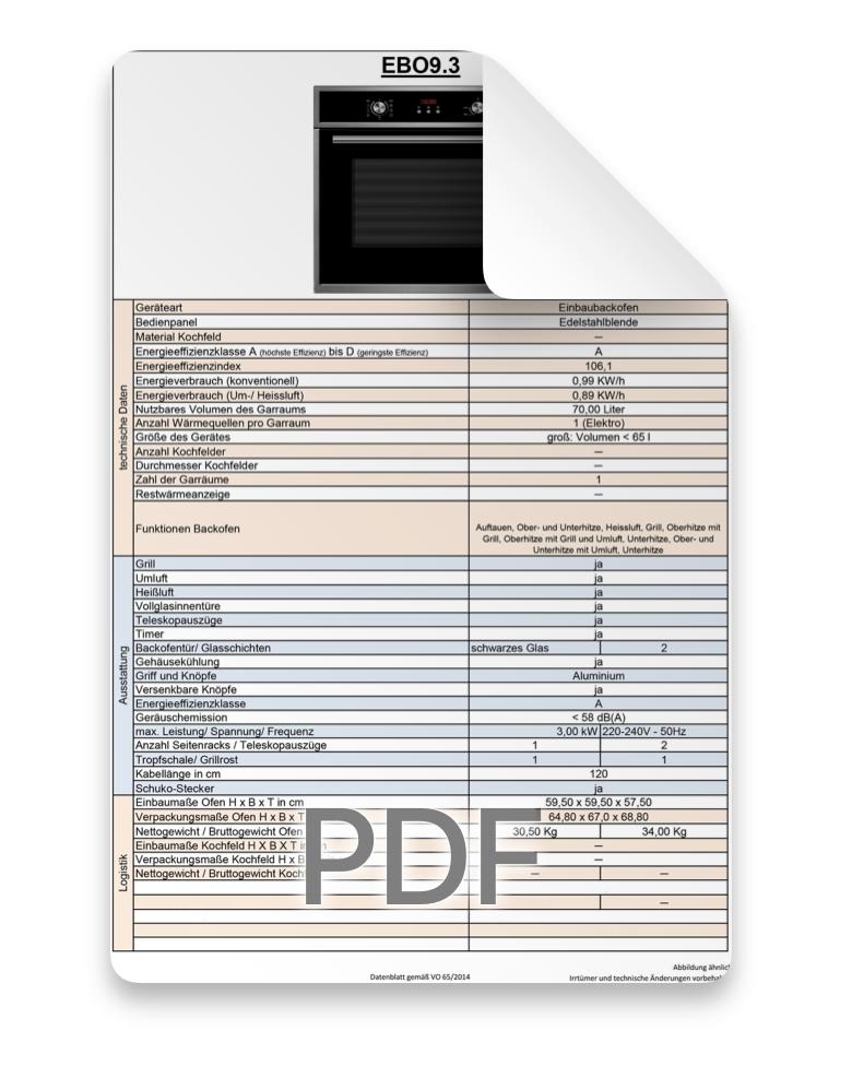 Datenblatt Ofen