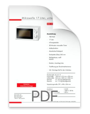 Datenblatt Mikrowelle