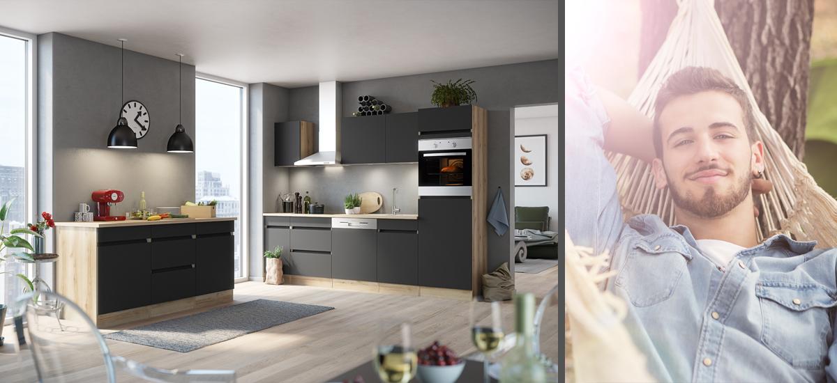 OPTIklar - Küchenmöbel mit Griffblende und extra Arbeitshöhe